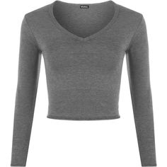 Rosetta V-Neck Crop Top ($16) ❤ liked on Polyvore featuring tops, dark grey, rayon tops, v-neck tops, long sleeve crop top, long sleeve tops and form fitting tops