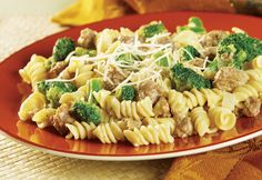 ... pasta, broccoli, seasoned sausage, and a creamy broccoli cheese sauce