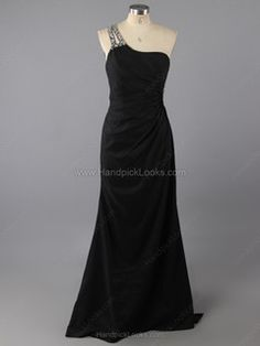 One Shoulder Beading Prom Dresses
