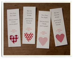 diy valentine bookmarks.  could probably switch out the shape for different holidays/occasions...