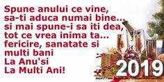 Felicitari de Anul Nou - La multi ani, 2019! - mesajeurarifelicitari.com An Nou Fericit, Happy New Year, Calendar, Quotes, Christmas, Design, Cook, Recipes, Qoutes