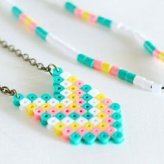 Make these fun Perler Bead Necklaces for yourself or as a fun project with the kids.