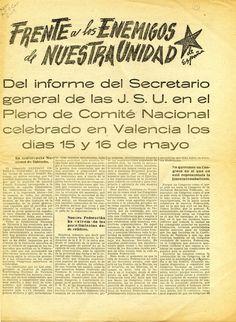Carrillo, Santiago (1915-2012) Frente a los enemigos de nuestra unidad : del informe del secretario general de las J. S. U. en el Pleno del Comité Nacional celebrado en Valencia los días 15 y 16 de mayo. -- [¿Madrid?] : [¿Juventudes Socialistas Unificadas?], [¿1937?]. 7 p. ; 37 cm.