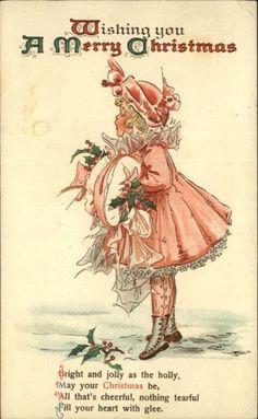 Christmas Child Dress Holly Berries Poem Embossed c1910 Postcard | eBay