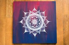20x20 Blue and Pink Mandala Canvas Painting by heyalisia on Etsy