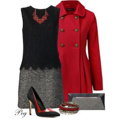 Red, Black and Grey, created by derniers on Polyvore