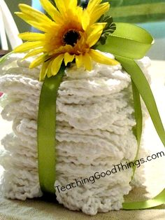 Crocheted dishcloths as a wedding shower gift, easy, cheap and practical!  http://teachinggoodthings.com/blog/crochet-dishcloths-wedding-gift/