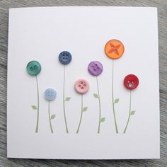 Nice handmade greeting card with recycled buttons.
