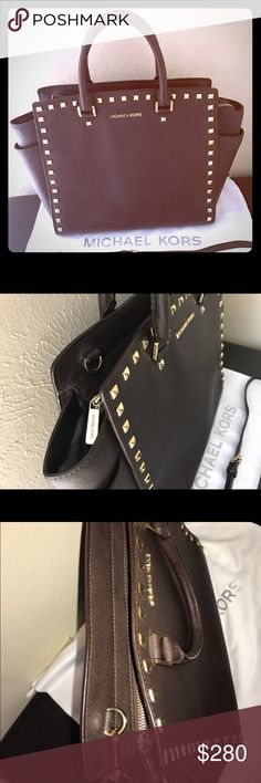 Michael Kors Studded Selma Authentic Michael Kors Studded Selma Brown Saffiano Leather Large Satchel. Gently used 1 month! Clean from inside out! Excellent conditions!! Michael Kors Bags Satchels