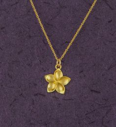 Plumeria flower pendant, 14K gold plated flower, plumeria necklace, Hawaii necklace, frangipani, tropical beach jewelry, gift for her