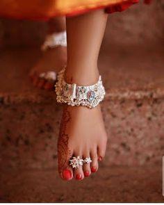 Bridal Silver anklets designs