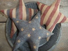 Primitive  Americana Star Bowl Fillers Ornies painted flags. $19.95, via Etsy.