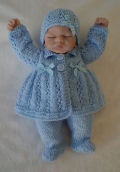 Hand Knitted Dolls Clothes To Fit 10 Emmy Doll or Similar Knitting Dolls Clothes, Knitted Baby Clothes, Knitted Dolls, Doll Clothes Patterns, Knitted Bags, Doll Patterns, Baby Boy Knitting Patterns, Baby Cardigan Knitting Pattern, Baby Patterns