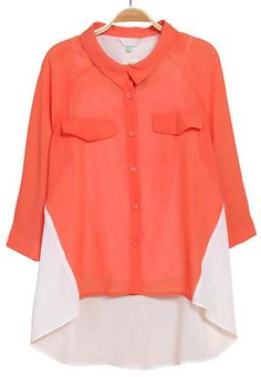 Orange White Long Sleeve Pockets Dipped Hem Blouse - Sheinside.com