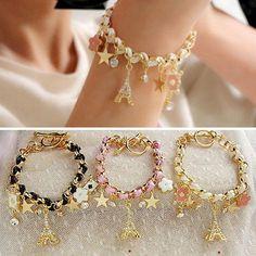 Women Ladies Bracelet Eiffel Tower Paris Leather Pentacle Shine Crystal Poker.