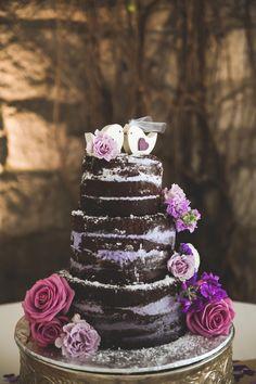 Chocolate Wedding Cake Inspiration naked cake roses cake topper wedding cake ideas purple and pink inspiration Wedding Cake Roses, Purple Wedding Cakes, Beautiful Wedding Cakes, Beautiful Cakes, Purple Cakes, Mauve Wedding, Wedding Topper, Wedding Colors, Chocolate Buttercream Cake