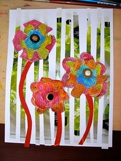 collage with watercolor and button flowers