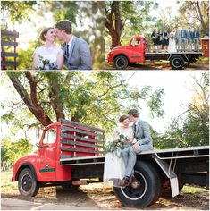 Bride & Groom portaits on the red vintage truck at Fairbridge Village. Photography by Trish Woodford - Mandurah Wedding Photographer Village Photography, Wedding Photography, Groom Getting Ready, Perth, Family Photographer, Bride Groom, Wedding Photos, Bridal, Couple Photos