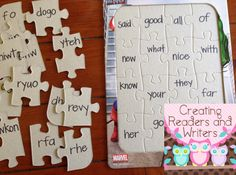 Write the letters mixed up on the puzzle pieces and then have children match them to the correct sight word on the puzzle board. LOVE this idea for word work!