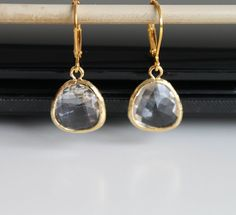 Gold clear crystal earrings faceted glass by everydayTrendy, $18.00