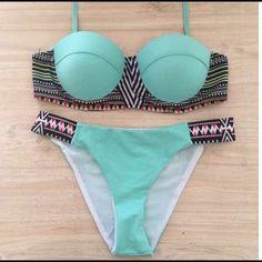 ⭐️ONE DAY SALE⭐️Mint Geometric Bikini Set Gorgeous mint bikini with geometric side paneling. Bra is padded with lots of support. I OFFER 10% OFF ALL BUNDLES!! (167153601-23-457) Swim Bikinis