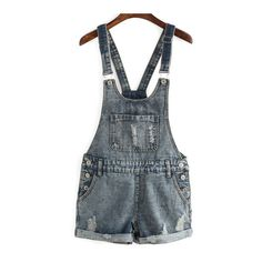 SheIn(sheinside) Ripped Denim Cuffed Romper ($20) ❤ liked on Polyvore featuring jumpsuits, rompers, shorts, bottoms, j u m p s u i t & r o m p e r s, playsuit, romper, blue, denim rompers and blue jumpsuit