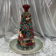Vintage Jewelry Jeweled Tree Encrusted Table Top Art | Etsy