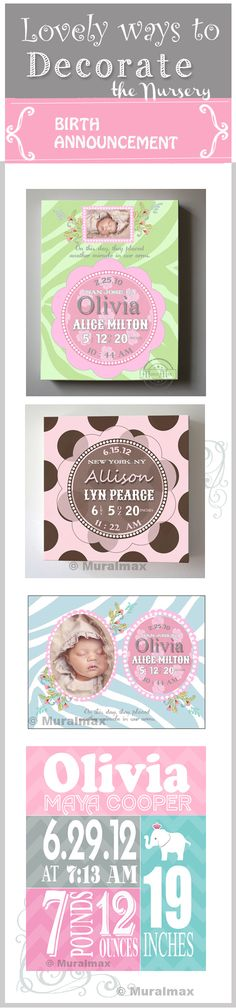 Lovely ways to decorate the nursery.  Personalized birth announcements by http://muralmax.com  #nurser #decor #girlsroom http://www.etsy.com/shop/MuralMAX