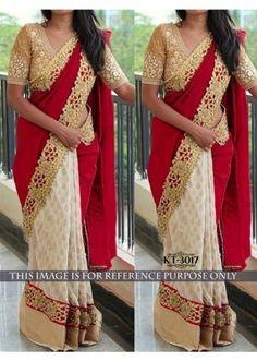 Bollywood Replica - Wedding Wear Cream & Red Saree - kt-3017