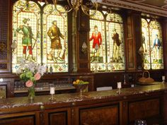 The stained glass windows at the Cafe Royal & Oyster Bar in Edinburgh. 17 West Register Street.