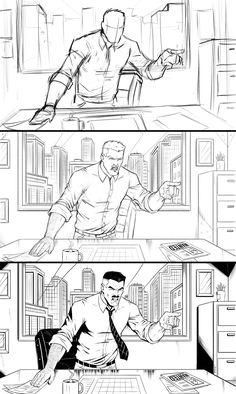 The stages of Drawing comic art - Ram Studios Comics Karate Kick, Thumbnail Sketches, Drawing Process, Cross Hatching, Comic Drawing, Let Them Talk, Art Courses, Just Kidding, Comic Artist