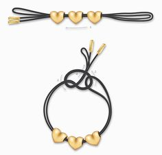 The standard knot can be used for closure of necklaces as well as for bracelets. It is a most secure way to fasten the ends of the string or lariat, because the knot never comes undone.  1. Fold the bracelet together and slide charms onto the center of both sides of the bracelet.  2. Take the ends of the bracelet and loop them through the folded center.  3. Fold the ends back to create a loop.  4. Draw the ends through the loop and pull to tighten.