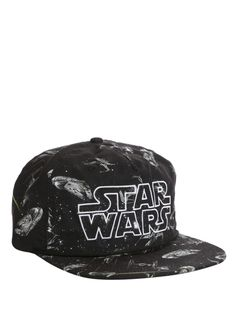 Black ball cap with a Star Wars sublimation print and embroidered logo. Disney Brands, Disney Disney, American Ninja Warrior, The Force Is Strong, Disney Merchandise, Snapback Cap, I Love Fashion, Hot Topic, Cool Shirts