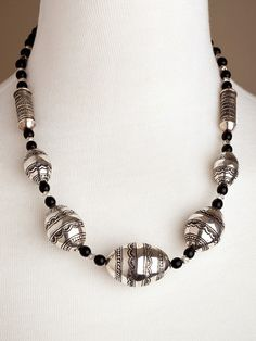 Large Silver Beads Necklace