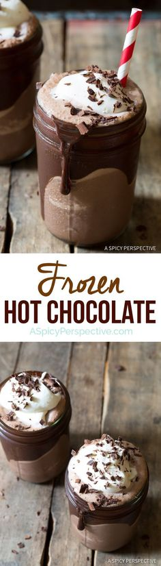Frozen Hot Chocolate Recipe - A cool creamy blend of sweet chocolate and milk, topped with whipped cream and chocolate shavings. Personalize…: