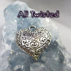 Scrolled Heart Pendants 26mm x 27mm by ATJewelrySupplies on Etsy, $2.69