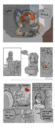 Pennywise-stuck by on DeviantArt Halloween Horror Movies, Scary Movies, Scary Art, Spooky Scary, Le Clown, Pennywise The Dancing Clown, Funny Horror, Horror Movie Characters, Movie Memes