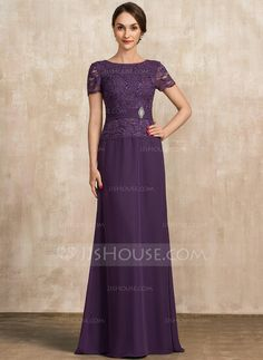 A-Line Scoop Neck Floor-Length Chiffon Lace Mother of the Bride Dress With Ruffle Crystal Brooch Sequins - JJ's House Mother Of Groom Dresses, Mother Of The Bride, Chiffon, Crystal Brooch, Plus Size Dresses, Lace Dress, Scoop Neck, Sequins, Dresses With Sleeves