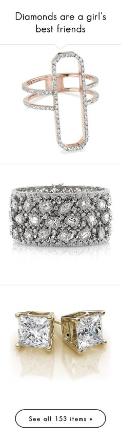 """""""Diamonds are a girl's best friends"""" by arianasinger ❤ liked on Polyvore featuring jewelry, rings, pave diamond cocktail ring, rectangle rings, diamond cocktail rings, cocktail rings, statement rings, bracelets, accessories and white"""