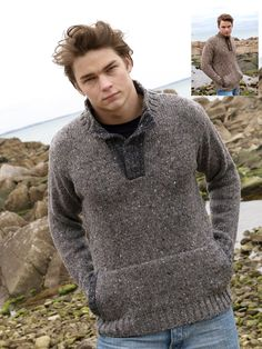 Button neck jacket (K4232), available in grey and brown. This is made from 100% Donegal wool.