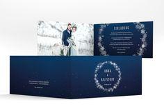 """Hochzeitseinladung """"Winterdream"""" DIN lang Klappkarte blau"""
