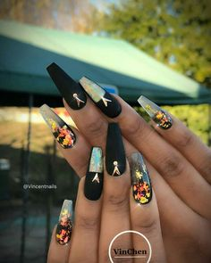 """If you're unfamiliar with nail trends and you hear the words """"coffin nails,"""" what comes to mind? It's not nails with coffins drawn on them. It's long nails with a square tip, and the look has. French Nails Glitter, Matte Black Nails, White Acrylic Nails, Fancy Nails, Black Nail Designs, Cute Nail Designs, Art Designs, Dope Nails, Nails On Fleek"""
