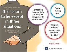 It is haram to lie except. Quran Quotes Love, Hadith Quotes, Ali Quotes, Islamic Love Quotes, Islamic Inspirational Quotes, Muslim Quotes, Religious Quotes, Prophets In Islam, Islam Hadith