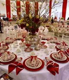 Hoaglands table, Red Cross 2012 Red & White Ball, Hermès Balcon du Guadalquivir