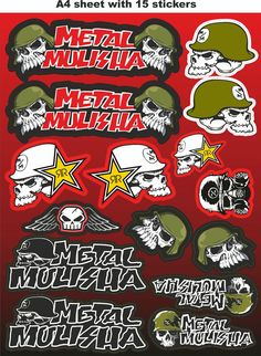 Metal Mulisha stickers,race stickers, decals,helmet decal,motorcycle graphics.