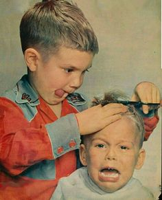 In this photo. It beings back memories, because my younger brother did that to m. In this photo. Funny Kids, Cute Kids, Cute Babies, Barber Shop Decor, Funny Photos, Creepy Old Photos, Vintage Pictures, Beautiful Children, Vintage Photography