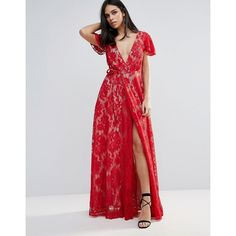 The Jetset Diaries Piazza Lace A-Line Maxi Dress (293 AUD) ❤ liked on Polyvore featuring dresses, red, plunge neck maxi dress, plunging neckline dress, wrap maxi dress, maxi dresses and spaghetti-strap maxi dresses