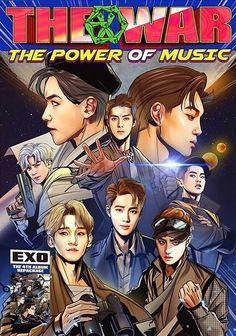 EXO telah merilis sampul album untuk 'The War: The Power of Music'. Album repackaged EXO yang 'The War: The Power of Music' akan beri. Chanyeol Baekhyun, Exo Kai, Kokobop Exo, Kpop Exo, Chanbaek, Exo Cartoon, Mundo Musical, L Wallpaper, Exo Anime