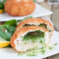 This Chicken Kiev is crispy on the outside and moist on the inside with a fragrant stream of herb butter flowing out.