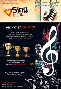 Sing Dil Se:-2014 | Singing Audition in Delhi | Registration Open www.singdilse.com Search for a REAL VOICE SINGING SENSATION of India Age: 15-35 Years Registration Open for Audition Call +91-8800221124 Visit http://www.singdilse.com